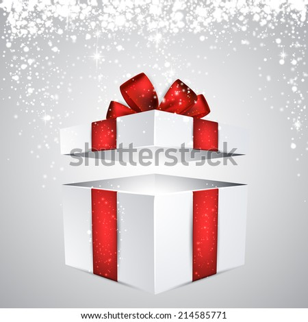 3d realistic gift box with red bow. Vector illustration.  - stock vector