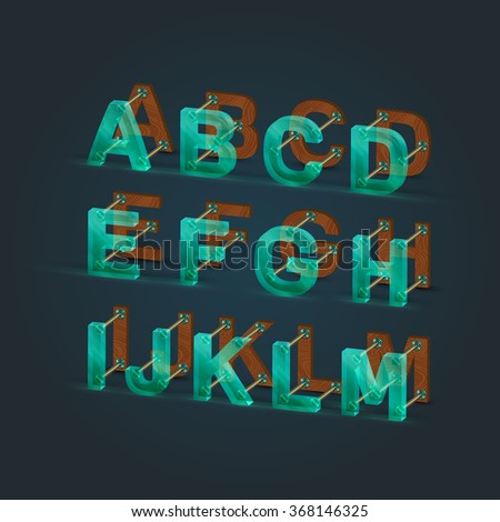 3D, realistic glass and wood uppercase set 1/2, vector - stock vector