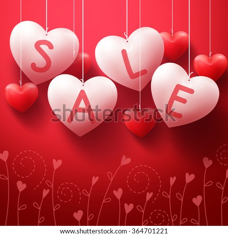 3D Realistic Hanging Heart Sale Balloons for Valentines Day Promotion in Red Background. Vector Illustration  - stock vector