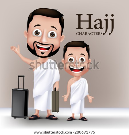 3D Realistic Muslim Man and Kid Characters Wearing Ihram Clothes Traveling to Perform Hajj or Umrah with Traveling Bags. Editable Vector Illustration - stock vector