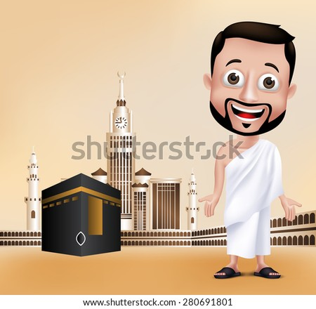 3D Realistic Muslim Man Character Wearing Ihram Clothes Performing Hajj or Umrah with Kaaba and Golden Clock Tower in Makkah Background. Editable Vector Illustration - stock vector
