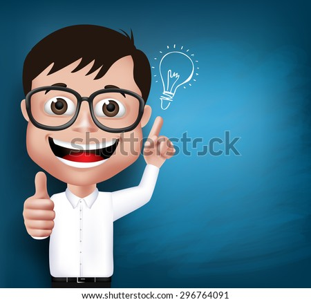 3D Realistic Nerd School Boy Student or Professor with Eyeglasses Happy Smiling with New Great Ideas in Blue Background Space for Texts. Vector Illustration - stock vector