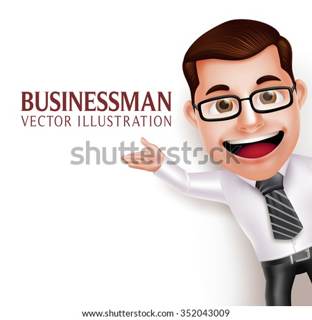 3D Realistic Professional Business Man Character  Waving Hand for Presentation on Empty White Background. Vector Illustration  - stock vector