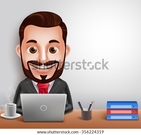 3D Realistic Professional Business Man Vector Character Busy Working in Office Desk with Laptop Computer. Vector Illustration  - stock vector
