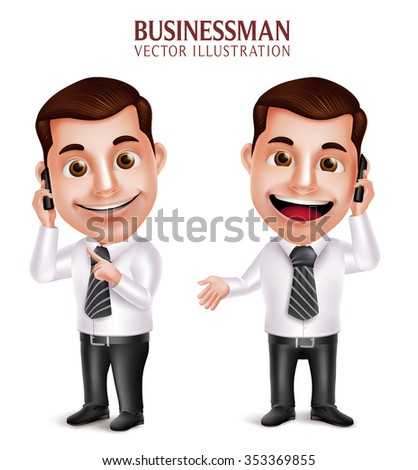 3D Realistic Professional Business Man Vector Character Holding Mobile Phone Happy Talking Isolated in White Background. Vector Illustration  - stock vector