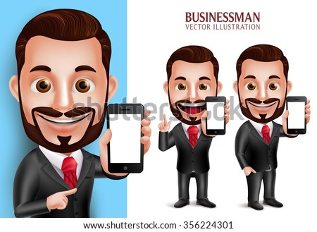 3D Realistic Professional Business Man Vector Character Holding Mobile Phone with Blank Screen Isolated in White Background. Set of Vector Illustration  - stock vector