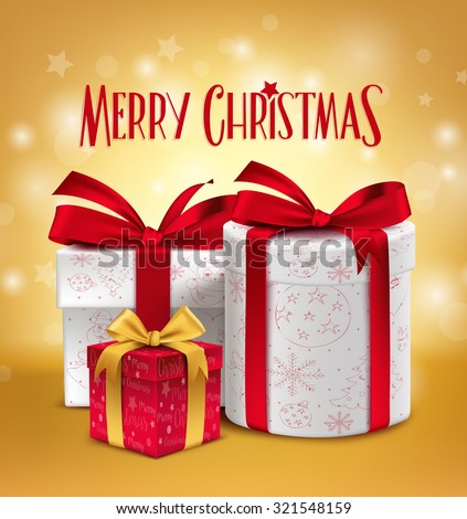 3D Realistic Red Gifts with Merry Christmas Greeting Celebration Design with Glossy Gold Background. Vector Illustration