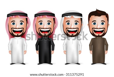 3D Realistic Saudi Arab Man Cartoon Character Wearing Different Traditional Thobe Dress and Gutra Isolated in White Background. Vector Illustration.  - stock vector