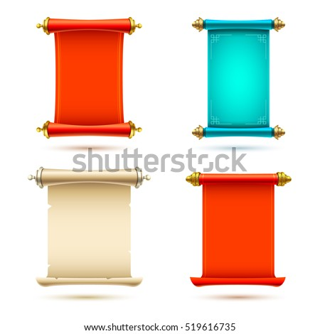 3d realistic scrolls illustration on white background. Eps10 vector template.