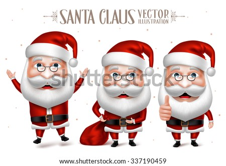 3D Realistic Set of Santa Claus Cartoon Character for Christmas Designs Isolated in White Background. Vector Illustration  - stock vector