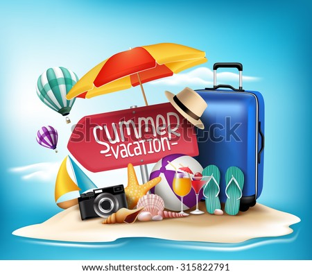3D Realistic Summer Vacation Poster Design for Travel in a Sand Beach Island in Horizon. Vector Illustration  - stock vector