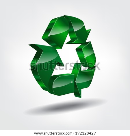 3d recycling symbol on bright background (EPS10 Vector) - stock vector