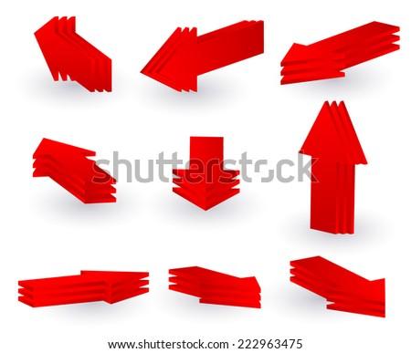 3d red arrow set - stock vector