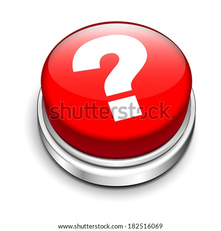 3d red button with question mark isolated white background
