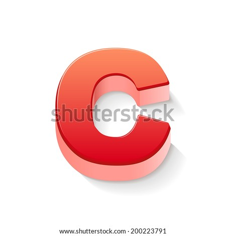 3d red letter C isolated white background - stock vector