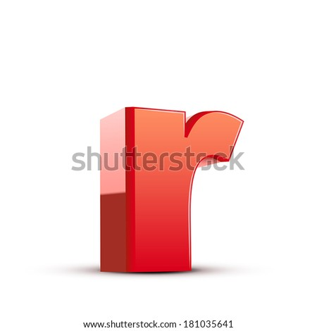 3d red letter r isolated white background - stock vector