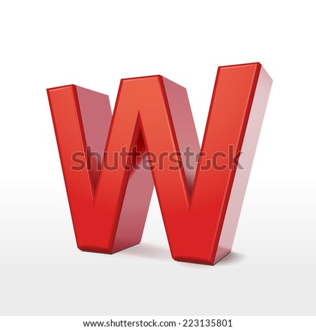 3d red letter W isolated on white background  - stock vector