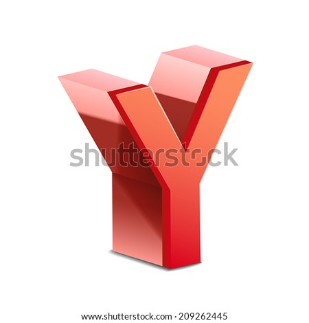 3d red letter Y isolated on white background - stock vector