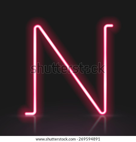 3d red neon light letter N isolated on black background - stock vector