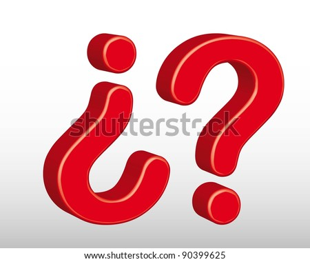 3d red question sign over gray background. vector illustration - stock vector