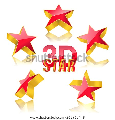 3d red star with gold set. vector illustration - stock vector