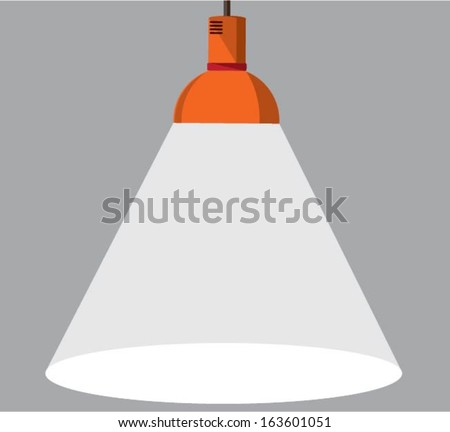 3d render of red lamp illuminating - stock vector