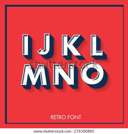 3d retro font/typeface/typography/lettering vector/illustration i,j,k,l,m,n,o - stock vector