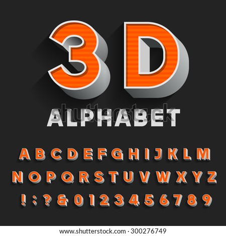 3D retro type font with shadow. Vector Alphabet. 3D effect vintage letters, numbers and punctuation marks. Stock vector for your headlines, posters etc. - stock vector