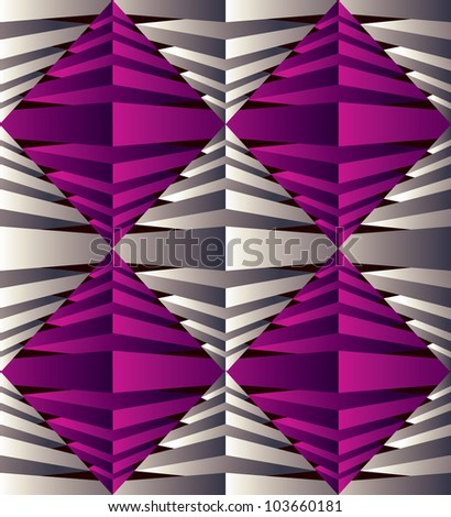 3D rhombus seamless pattern techno style background. - stock vector