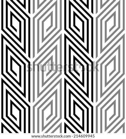 3D Rhombus Spirals Geometric Optical Black and White Vector Seamless Pattern
