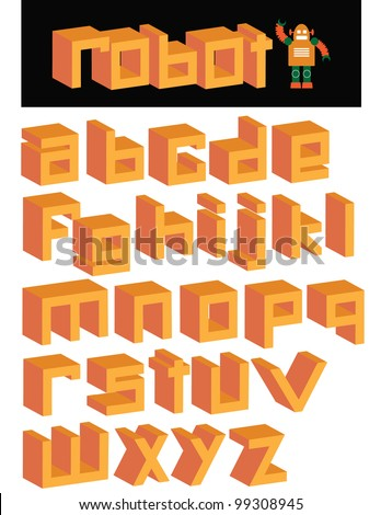 3D Robot Square Font Alphabet Symbol Icon Set EPS 8 vector, grouped for easy editing. No open shapes or paths. - stock vector