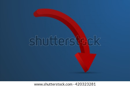 3D rounded red arrow representing loss or warning on blue gradient background ( backdrop ) with barely visible grid. Red rounded arrow pointing down with shadow, can be used as infographics element. - stock vector
