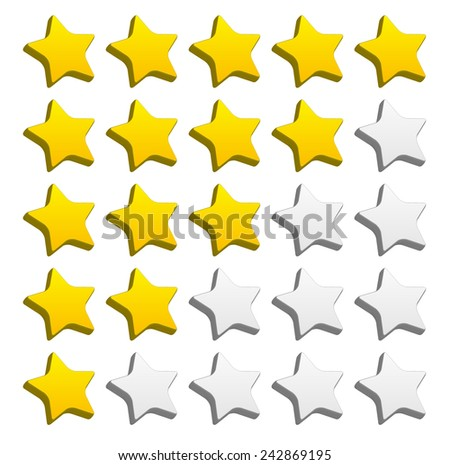 3d rounded star rating for rating, valuation, review concepts. Vector graphics. - stock vector