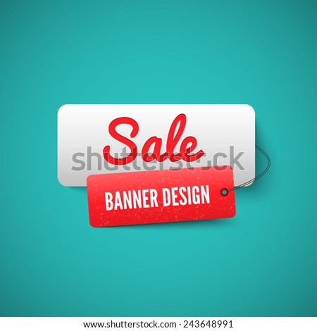 3D Sale banner tag. Sale Labels. Sale concept. - stock vector