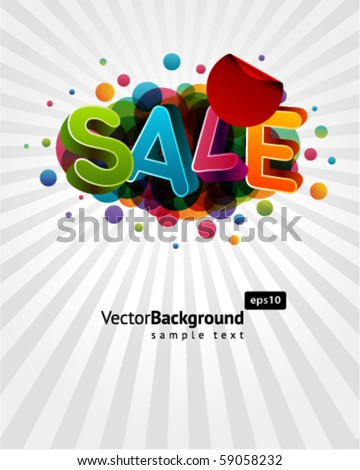 3d sale message with percents colorful background - stock vector