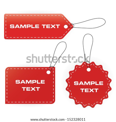 3D sample text tags set. vector. - stock vector