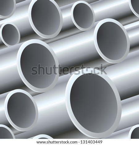 3D seamless steel pipes pattern vector illustration. - stock vector