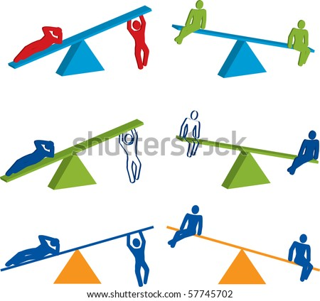 3D See Saw designs with people in a variety of different poses and colors. Created using Illustrator. - stock vector