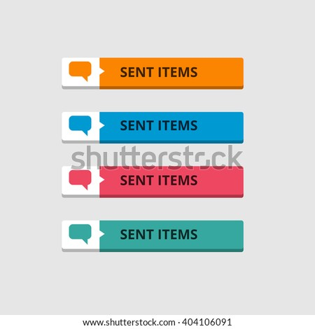 3d Sent Items Button set with icons. beautiful text button. Orange Button, Blue Button, Red Button, Turquoise button. Call to action icon button. Flat Button Set. Vector Illustration