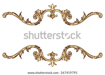 3d set of an ancient gold ornament on a white background - stock vector