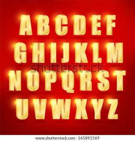 3d  set of gold vector alphabet. Eps 10.  - stock vector