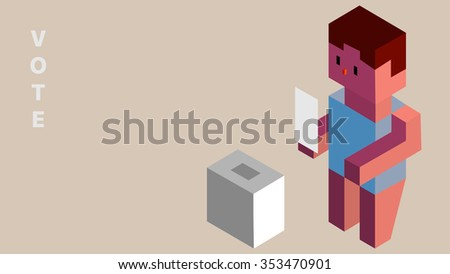 3D shape isometric method design election and voting concept project cartoon comic style illustration. Adult man character model hand holding white ticket, paper, card. Ballot poll deposit box object. - stock vector