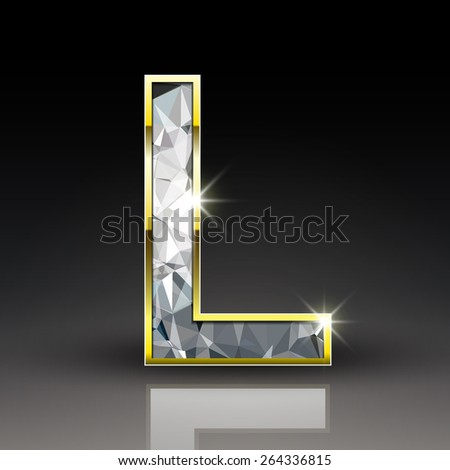 3d shiny diamond letter L isolated on black background - stock vector