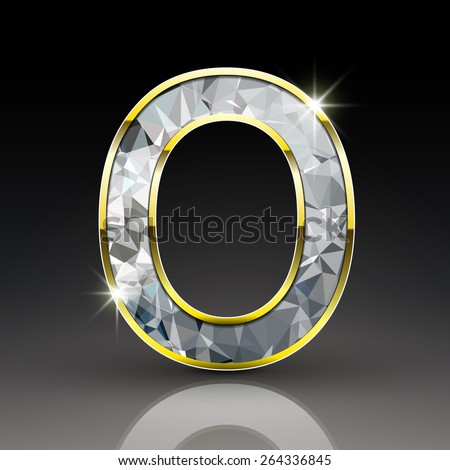 3d shiny diamond letter O isolated on black background - stock vector