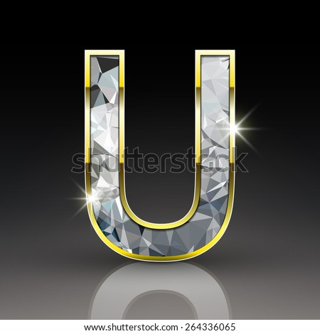 3d shiny diamond letter U isolated on black background - stock vector