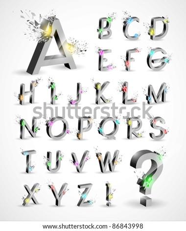 3D Shiny Explosion Vector Alphabet - stock vector
