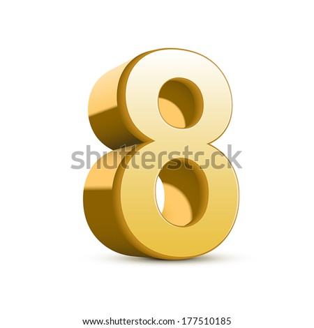 3d shiny golden number 8 on white background - stock vector