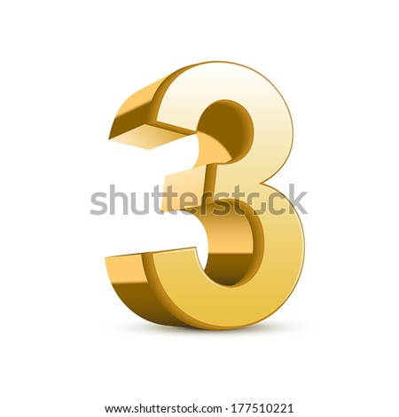 3d shiny golden number 3 on white background - stock vector