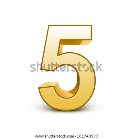 3d shiny golden number 5 on white background - stock vector