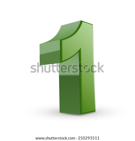 3d shiny green number 1 isolated on white background